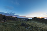 UK, Scotland, Inner Hebrides, Isle of Skye, Trotternish, sunset at observation point at The Storr - FOF09394