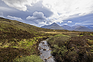 UK, Scotland, Inner Hebrides, Isle of Skye, Allt Dubh River and peak of Glamaig - FOF09403