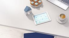 Smart home app on digital tablet in office - UWF01270