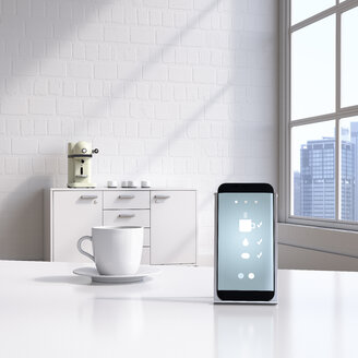 Smartphone with coffeemaker app on charging station - UWF01291