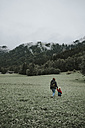 Austria, Vorarlberg, Mellau, mother and toddler on a trip in the mountains - DWF00306