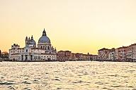 Italy, Venice, Silhouette of Santa Maria della Salute at sunrise - MRF01733