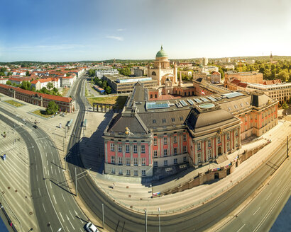 Germany, Potsdam, view to City Palace, today Statehouse with  Nikolai Church in the background - PUF00725