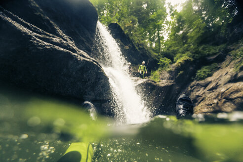 Germany, Bavaria, Allgaeu, canyoning in Ostertal - PNPF00080