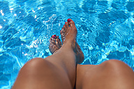 Woman sitting at pool edge with legs in the water - DIKF00281
