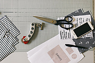 Acessories of fashion designer on desk - JUBF00272