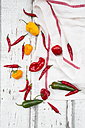 Various chili pods on kitchen towel and wood - LVF06308
