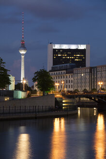 Germany, Berlin, view to lighted television tower - WIF03441