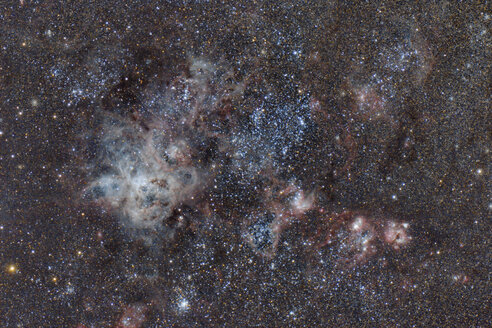 Namibia, Region Khomas, near Uhlenhorst, Astrophoto of emission nebula NGC 2070 or Tarantula Nebula in the Large Magellanic Cloud with a telescope - THGF00013