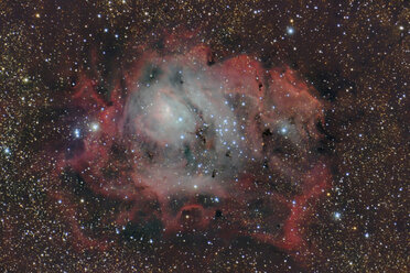 Namibia, Region Khomas, near Uhlenhorst, Astrophoto of emission nebula and star forming region Messier 8 or Lagoon Nebula with a telescope - THGF00019
