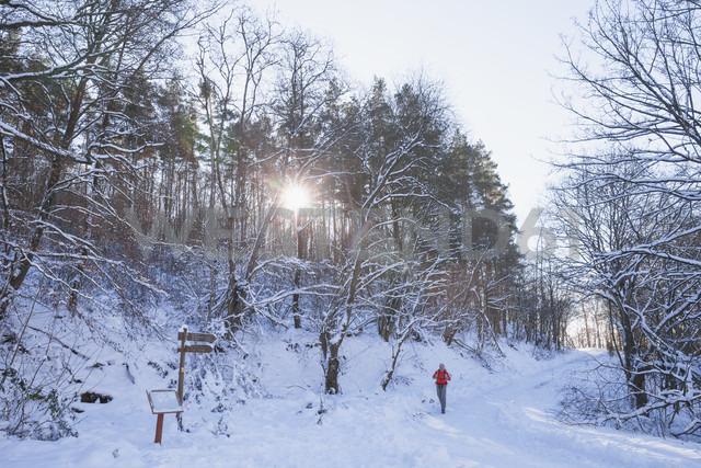 Germany, North Rhine-Westphalia, Eifel National Park, man hiking in snow-covered landscape - GWF05256 - Gaby Wojciech/Westend61
