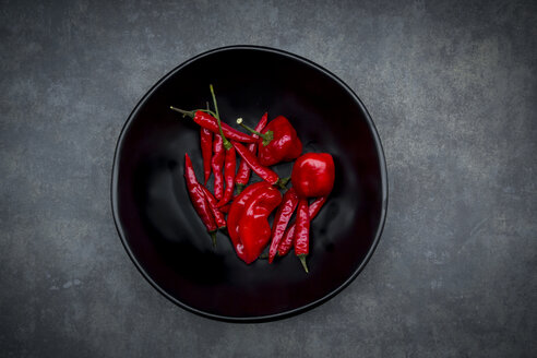 Black bowl of various red chili pods - LVF06311
