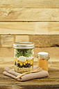 Jar of vegetarian mixed salad with Kritharaki, corn, rocket and cranberries and jar of cocktail sauce - ECF01899