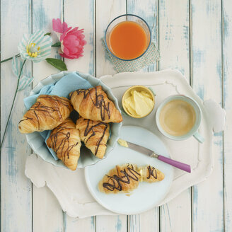Breakfast with chocolate croissants - ECF01912