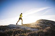 Italy, man running on mountain trail - SIPF01796