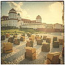 Germany, Mecklenburg-Western Pomerania, Binz, Hooded beach chairs on the beach and Spa Hotel - PUF00757