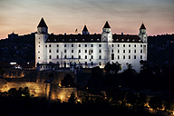 Slovakia, Bratislava, Bratislava Castle at dusk - ABO00271