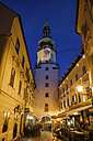 Slovakia, Bratislava, Old Town, Michael's Gate and Tower by night on Michalska Street - ABOF00295