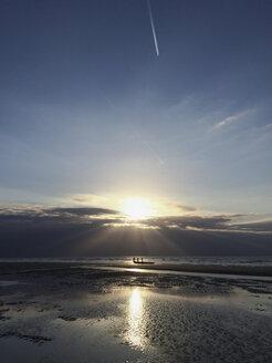 Belgium, Flanders Coast, sundown, people with boat on North Sea beach, low tide - GWF05279