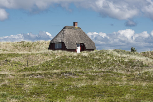 Denmark, Norre Nebel Sogn, house with thatched roof in dunes - HWOF00223