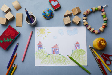 Child's drawing, coloured pencils and accessories - RBF06081