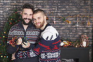 Portrait of happy gay couple with chain of lights at Christmas time - RTBF01046
