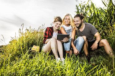 Friends sharing tablet at a cornfield - FMKF04573
