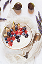 Bowl of Greek yoghurt with fig, watermelon, frozen berries and lavender honey - SBDF03320