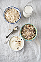 Bowls of granola, oat flakes and natural yoghurt and a glass of milk - MYF01958