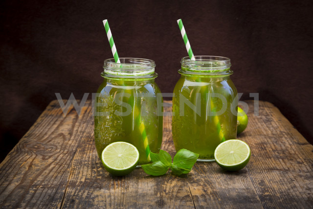 Two glasses of organic lime lemonade with basil - LVF06338