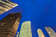 Germany, Berlin, Potsdamer Platz, illuminated skyscrapers - WDF04165
