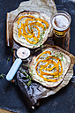 Tarte Flambee with soft goat cheese, pumpkin slices and fresh thyme - SBDF03331