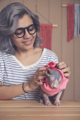 Woman putting pink pullover on her Sphynx cat at home - RTBF01069
