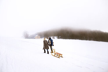 Back view of senior couple with sledge walking side by side in snow-covered landscape - HAPF02253