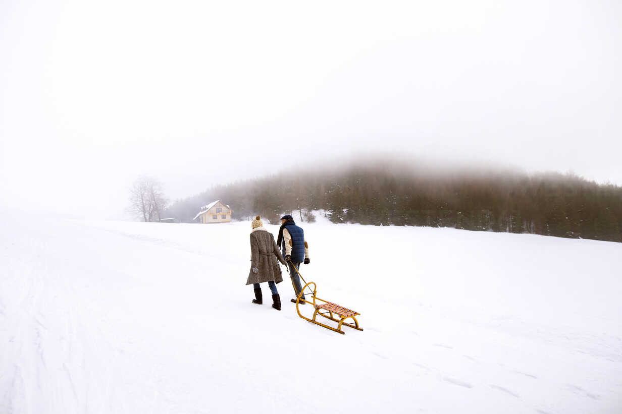 Back view of senior couple with sledge walking side by side in snow-covered landscape - HAPF02253 - HalfPoint/Westend61