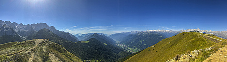 Italy, Trentino, Rendena valley, Panorama view from Doss del Sabion peak - LOMF00634