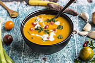 Sweet potato soup with carrot, tomato, leek, garlic, parsley and cumin - SARF03397