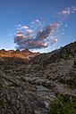 Italy, Trentino, Rendena valley, Cima Cornisello and lake Cornisello at sunrise - LOMF00656