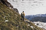Germany, Bavaria, Oberstdorf, hiker in alpine scenery - UUF12136