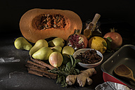 Ingredients of vegan oven vegetables with pumpkin and pears - CSTF01406