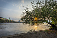 Germany, Hamburg, Binnenalster lake at sunset - KEBF00668