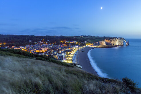 France, Normandy, Etretat, village view, blue hour - RPSF00004