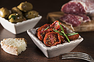 Antipasti, pickled olives, pickled tried tomato, olive bread, salami - CSTF01455