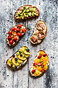 Different sandwiches, strawberry, fig, nectarine, avocado, tomato - SARF03401