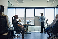 Man leading a presentation at flip chart in office - ZEDF00931