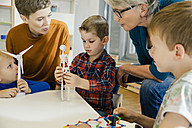 Children and pre-school teachers with wind turbine and anatomical model in kindergarten - MFF04129