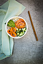 Sushi-Bowl with salmon, cucumber, avocado, rice and carrot - LVF06385