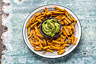 Homemade sweet potato fries and bowl of Guacamole - SARF03407