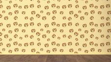 Wallpaper with pretzel pattern and wooden floor, 3D Rendering - UWF01303