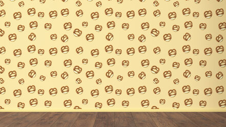 Wallpaper with pretzel pattern and wooden floor, 3D Rendering - UWF01303